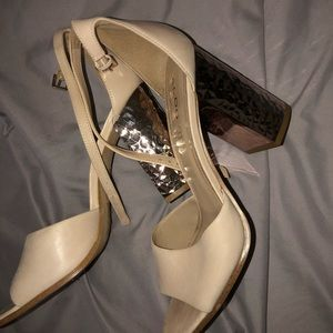 Beige, rose gold heels
